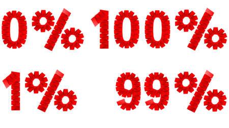 folded paper: percent folded paper sign illustration Illustration