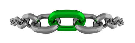 fisheye: Metal Chain Fisheye Line With Green Element Isolated 3D Rendering