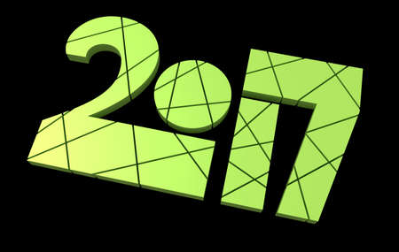 greenery: 2017 Year Typeface Design 3D Rendering Over Black Background