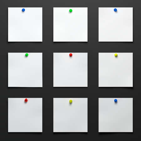 White Notes Papers With Color Pins On Black Table 3d Rendering