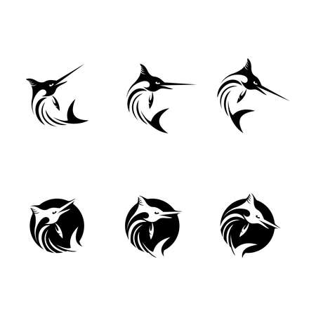 Vector illustration of a marlin with various styles