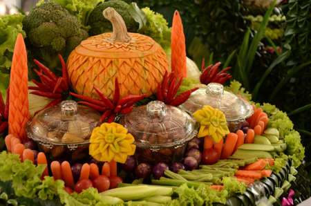 Beautiful craven pumpkin with vegetables photo