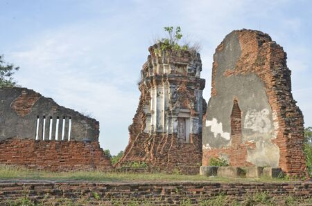leavings: Ancient ruints of temple walls and pagoda