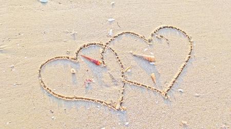 Couple hearts on the sand photo