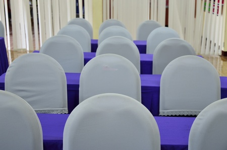 White chairs and violet tables photo