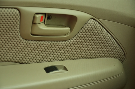 Lock and open button at car door photo