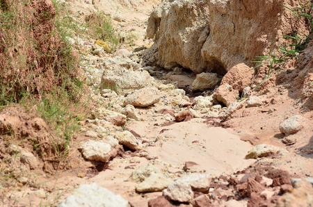 scour:  Little soil cliff from scour water stream Stock Photo