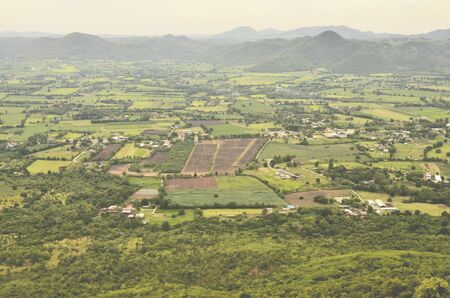Top view of local village and field in Thailand photo
