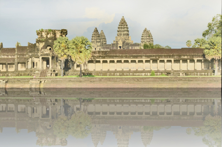 angor: Ancient castle with shadow in Cambodia Stock Photo