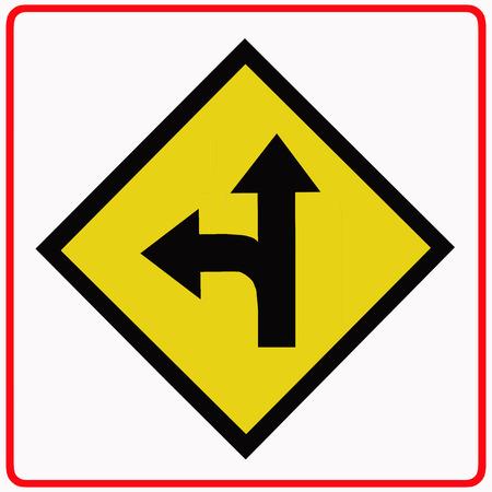Left turn split traffic sign