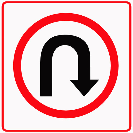 u turn sign: U - turn ahead traffic sign Stock Photo