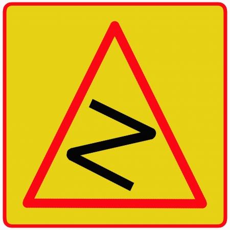 bend: Dangerous bend traffic sign Stock Photo