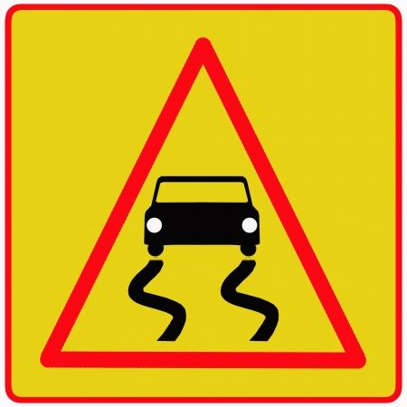 slippery sign: Slippery road traffic sign