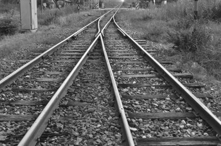 Black and white railway junction  Banco de Imagens