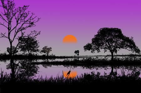 beautifu: Beautifu sunset over the canal