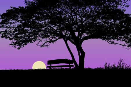 heartsick: Full moon and big tree Stock Photo