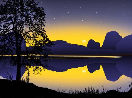 glum: Blue mountain and moonlight