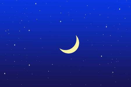 waning moon: Waning moon and stars