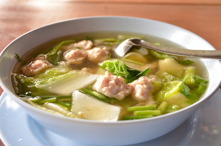 mild: Mild soup with vegetables and pork Stock Photo