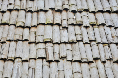 Pattern Of Old Bamboo Roof Stock Photo