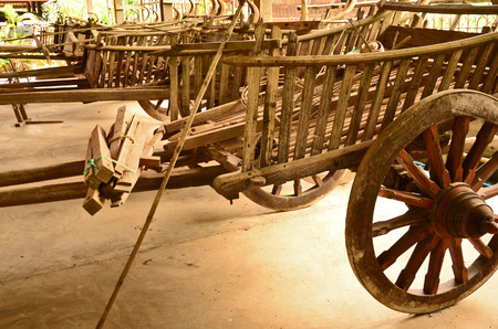 outworn: Old wagons in thai local museum Stock Photo