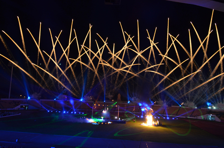 fire crackers: Gold fire crackers over the stadium