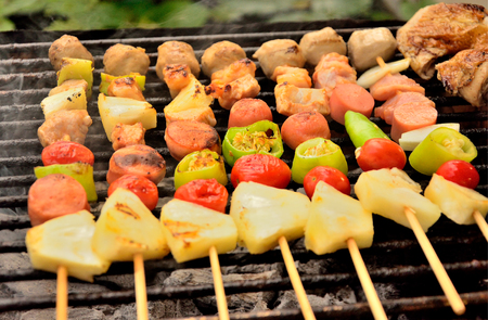 palatable: Palatable pork barbecue on the stove Stock Photo