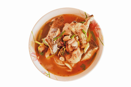 snake head fish: Hot snake head fish soup thai style Stock Photo