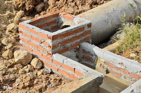culvert: New concrete water culvert construction Stock Photo