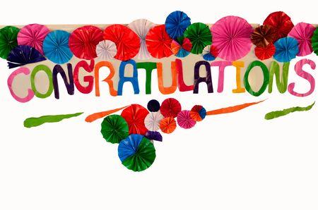 rend: Congratulation sign on white board
