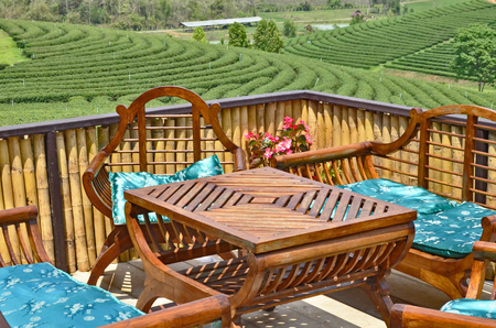 Table and chair suit with tea farm photo