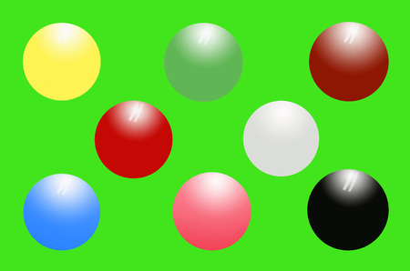 Snooker balls on green background photo