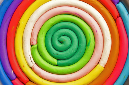 magnetize: Beautiful spiral colors of oil clay Stock Photo