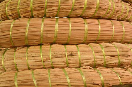 bundle: Dried papyrus bundle texture closeup Stock Photo