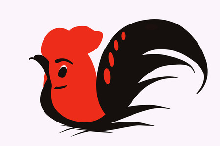 Red cock on white background photo