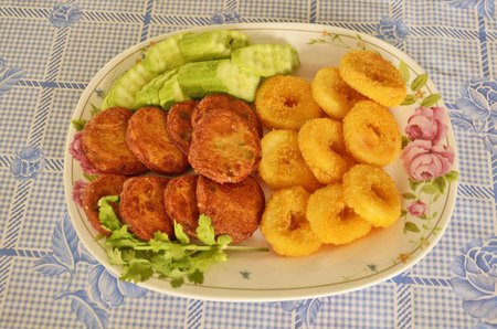 fresh food fish cake: Fried Fishpaste balls with vegetables