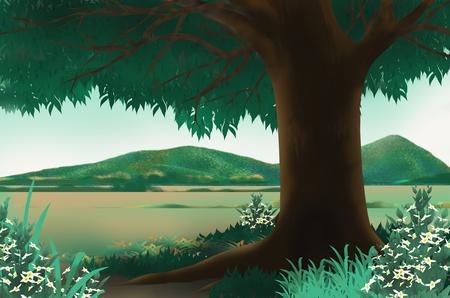 big scenery: Beautiful scenery and green big tree