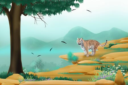 bengal tiger: Bengal tiger on the cliff