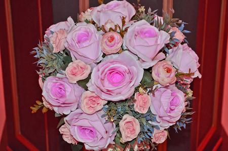 rose bush: Beautiful artificial rose bush closeup