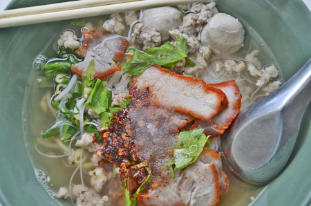 flavouring: Red pork noodles with flavouring closeup Stock Photo
