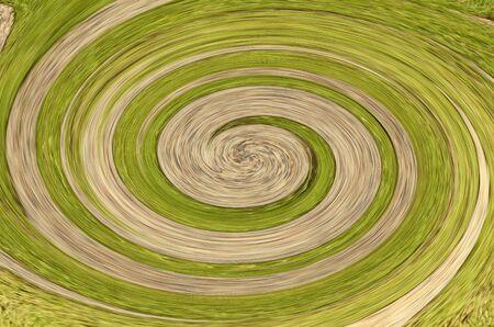 distort: Dizziness of twirl brown and green bokeh