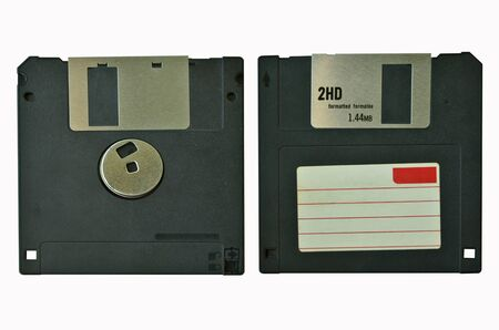 outmoded: Front and back of floppy disk Stock Photo