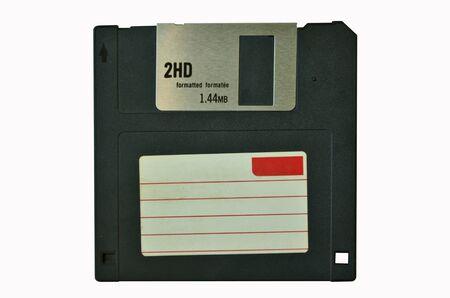 disuse: Black floppy disk on white background
