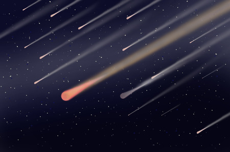 meteor: Meteor shower in dark space Stock Photo