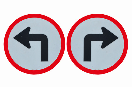 turn left: Turn left and turn right taffic signs