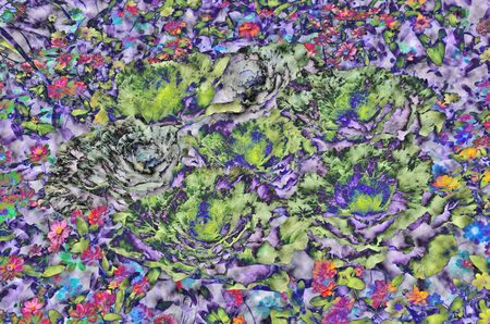 distort: Wonderful color pattern of flowers and cabbages