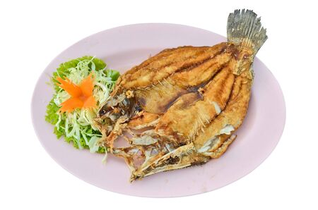 widespread: Fried widespread snapper with fresh vegetable