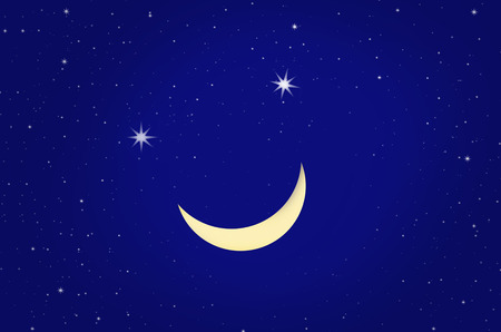 waxing: Smiling waxing moon with stars in blue night sky