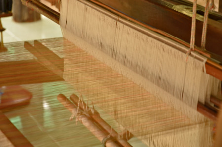 rug weaving: Lines and pattern of thread of loom