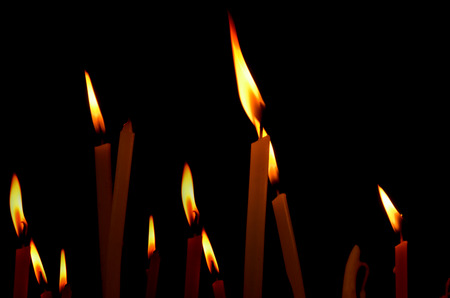 Lights of the candlles in the dark